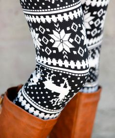 Look at this Sawyer Cove Black & White Snowflake Fair Isle Leggings on #zulily today!