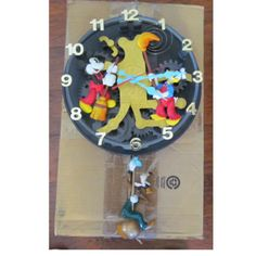 Disney Wall Clock Cleaners Mickey Mouse Donald Duck Goofy Animated Talking