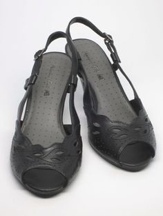 Women's American Eagle Black Slingback Open Toe Pump, Med Heel US Size 7.5 Wide #AmericanEagleOutfitters #Slingbacks