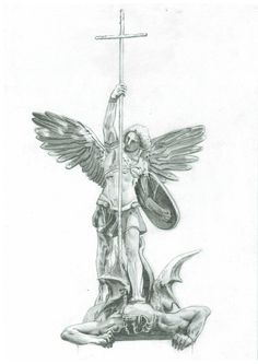 Statue of Archangel Michael over the main Gate of the church Sankt Michaelis in Hamburg, Germany