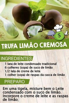 Trufa de limão cremosa - Trufa cremosa de limão - Recheio cremoso de limão rápido. ■ CLIQUE NO PIN e descubra como VENDER e LUCRAR fazendo trufas na sua cozinha. #trufadelimão #trufacremosadelimão #trufacomlimão #trufalimao #trufa #de #limão #recheio #trufafacil #comofazertrufas Créditos: Torrespane Chocolates, Good Food, Yummy Food, Easy Snacks, The Duff, Confectionery, Afternoon Tea, Bakery, Food And Drink