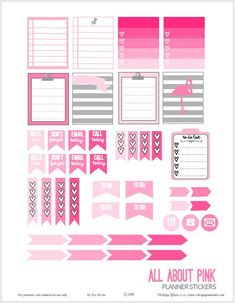 All About Pink Planner Stickers | Free printable for ECLP life planners. Free for personal use only.