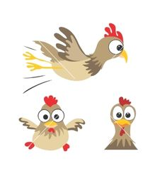 Funny chickens vector