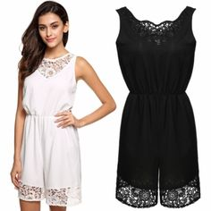 Finejo Women Casual Lady O-Neck Sleeveless Lace Patchwork Mini Dress Sundress