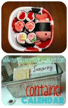 """Sushi Baby Shower Gift~ A fun and creative way to display useful baby items for your next baby shower gift.  This """"sushi plate"""" is made up of essentials like washcloths, socks, onesies and more."""