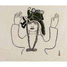 "In this print the dominant female figure dreams of motherhood, pictured here as a woman holding an ulu knife and carrying a child in the hood of her amauti. Pitseolak Ashoona, ""Dream of Motherhood,"" printed by Eegyvudluk Pootoogook. Inuit People, Inuit Art, Tlingit, Native Art, Mother And Child, Art Auction, Online Art, Unique Art, Printmaking"
