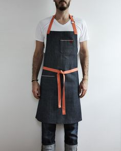Nalata Nalata Exclusive Denim Apron - Hedley and Bennett - Nalata Nalata Work Aprons, Aprons For Men, Work Uniforms, Sewing Aprons, Apron Designs, Young Designers, Raw Denim, Top Stitching, Work Wear