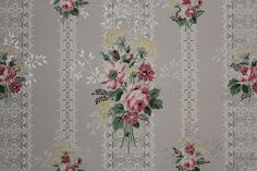 1940's Vintage Wallpaper Pink Roses Bouquets by RosiesWallpaper, $14.00