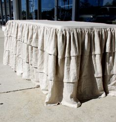 Khaki Ruffled Table Cloth  Id Linens & Deor