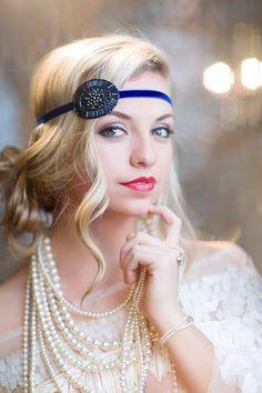 Blue Flapper 1920s Beaded Headband, Great Gatsby Headband, Wedding Party Flapper Headpiece, Art Deco Blue Purple Halo by Flower Couture on Etsy, $25.00