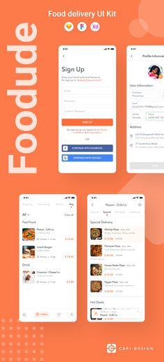 Foodude is food ordering & delivery UI kit designed for brands and designers. Delivery App, App Design Inspiration, Order Food, Mobile App Design, Ui Kit, App Ui, Ui Ux Design, Ios
