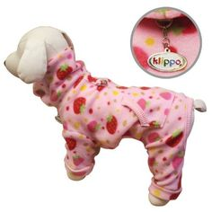 Yummy Strawberries Fleece Turtleneck Dog Pajamasbodysuit - M by Klippo   $27.99   Available at BuyDogSweaters.com
