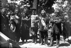 Passamaquoddy and Penobscot group with U.S. Army General, John J. Pershing (center), at Deering Oaks Park in Portland, Maine - 1920