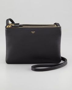 Celine Solo Small Trio Pouch Crossbody Bag, Black