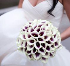 Half purple half white bouquet