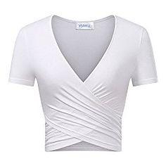 6d20d9e0134 Women Tops Summer Casual Tops Sexy Cross Wrap Shirt Cute Crop Tops White  Summer Crop Tops
