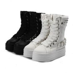 Spike Stud Punk Goth Creeper Shoes Womens Platform Mid Calf Boot Lace Up Sneaker #Other #FashionAnkle