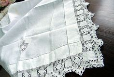 Antique Linen Table Cloth or Topper  by VintageKeepsakes on Etsy