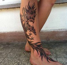 phoenix tattoo ideas on foot