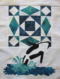 Orca with storm-at-sea block, Northern Wilderness quilt, Sonya's Snippets