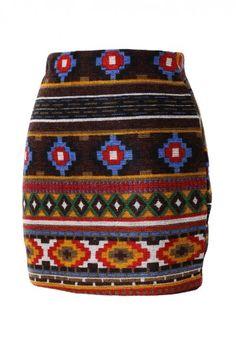 Aztec Pattern Knit Skirt