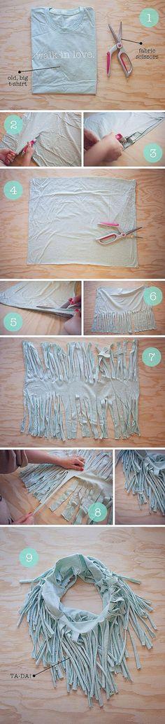 DIY Reuse of old T-Shirt = Scarf | DIY  Crafts