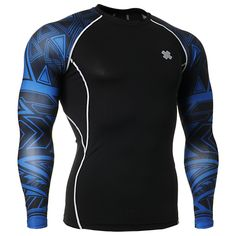 Fasion Mens Shirts for Male Bodybuilding Base Layers Tights MMA Durable Clothing Prints Active Crossfit Compression Shirt Sport T-shirts, Sport Wear, Gym Shirts, Running Shirts, Tight Shirts, Running Gear, Running Equipment, Long Sleeve And Shorts, Long Sleeve Shirts
