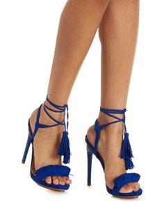 5f4cdcfc0394 Privileged Two Piece Tassel Sandals Blue Sandals