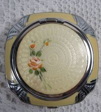 Vintage Art Deco Evans Enameled Guilloche Roses Powder Compact with Puff Sweet Yellow