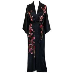 e6cd88f218 Old Shanghai Women s Silk Kimono Long Robe Handpainted ❤ liked on Polyvore  featuring intimates