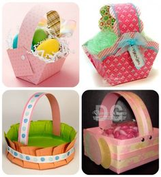 See how to make Easter baskets with this free Easter basket template and just a few cuts and folds. You can also make your own Easter basket grass from paper. Spring Crafts, Holiday Crafts, Holiday Fun, Easter Art, Easter Crafts For Kids, Easter Eggs, Easter Basket Template, Diy Ostern, Ideias Diy