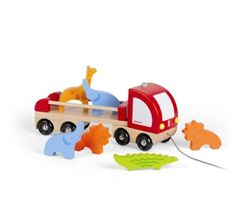 Wooden Truck with Wild Animals  A beautifully crafted and easy to carry pull along and wild animal set from Janod. This Jeep with open back trailer includes 5 stand alone animals - a Lion, a Giraffe, a Zebra, an Elephant and a Crocodile - a bush, a tree and a driver