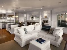 kitchen open to family room | living rooms - white, island, sectional, ottoman, sectional, sectional ...