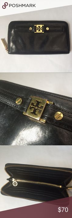 "🌟NEW Listing🌟Tory Burch continental wallet Tory Burch zip around continental wallet in black leather with gold hardware. Good condition with minor wear visible to the leather, logo hardware and zipper pull, as shown in photos. Two interior slip pockets, 8 card slots and inner zipper pocket. 7.75""W x 4.25""H x 1""D. Not interested in trades. Tory Burch Bags Wallets"