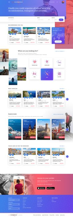 Your travel experience homepage concept view