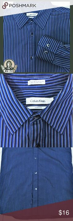 "Calvin Klein Modern Fit L Excellent condition Calvin Klein Dress Shirt.  Cool stripe design, goes great with khakis and a pair of brown Oxfords. Size L Chest 23"" across, sleeve 27"", neck 17"", length from shoulder to bottom hem 30-32""  GT2 Calvin Klein Shirts Dress Shirts"