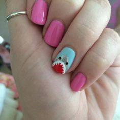 Done By Me : little cartoon shark accent nail.