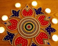 Best 12 Please order your Karvachauth Sets and Diwali Rangolis by October. We are going to be close from October- Nov 2018 🙏 Beautiful Red Blue Green Kolam Alpona 11 pieces Re-Useable Kundan Rangoli Rangoli is a traditional Indian art-form. Traditional Rangoli, Traditional Decor, Diwali Craft, Diwali Gifts, Diwali Rangoli, Lotus Rangoli, Peacock Rangoli, Lotus Mandala, Acrylic Rangoli