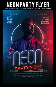 Buy Neon Night Party Flyer by sparkg on GraphicRiver. Neon Night Party Flyer It's unique flyers. Creative Poster Design, Graphic Design Posters, Graphic Design Inspiration, Poster Designs, Banner Design, Flyer Design, Photoshop, Party Poster, Club Poster