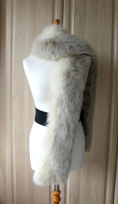 Vintage Real Blue Phase Arctic Fox Fur Stole / Coat Attachment Very Rare, Fantastic Condition, Wedding Opera, HUGE