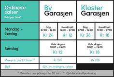 Her er oversikten over prisene for parkering i våre anlegg. For a list of prices and rates in English, click here. Priser for nytt ladeområde i ByGarasjen finner duher.