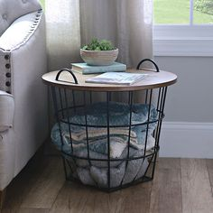 Industrial Wire and Wood Basket Side Table   Kirklands