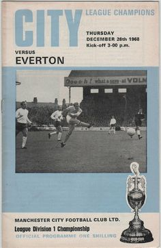 Vintage Football Programme - Manchester City v Everton, season, by DakotabooVintage, Football Program, Vintage Football, Vintage Magazines, Everton, Manchester City, My Books, Champion, Kicks, Seasons