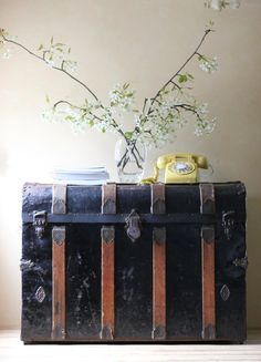 Large Black Antique Steamer Trunk Blanket Chest