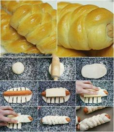Way to spruce up pigs in the blanket. Can't find the connecting page, but gonna try! I've been hankering for a good kolache! Donut Recipes, Dessert Recipes, Cooking Recipes, Sausage Bread, Bread Shaping, Ramadan Recipes, Pastry And Bakery, Snacks Für Party, Sweet And Salty