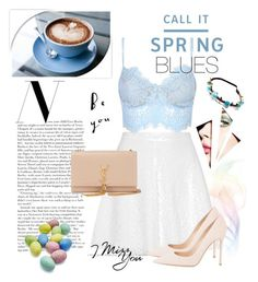 """Spring Blues"" by fashionstudiolondon ❤ liked on Polyvore featuring Call it SPRING, Topshop, Gianvito Rossi, Yves Saint Laurent and Sur La Table"