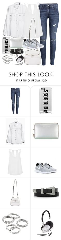 """Outfit with a denim shirt"" by ferned ❤ liked on Polyvore featuring H&M, Casetify, MANGO, Yves Saint Laurent, Sandro, NIKE, Proenza Schouler, Apt. 9, Forever 21 and French Connection"
