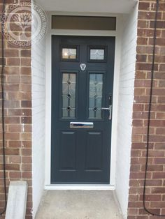 This amazing photo is a quite inspirational and magnificent idea #frontdoorsideas Gray Front Door Colors, Black Front Doors, Front Doors With Windows, Grey Windows, Black Composite Front Door, Composite Door, Main Entrance Door Design, Entrance Doors, Cottage Door