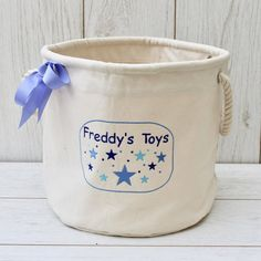 Excited to share the latest addition to my #etsy shop: Personalised Boys Childs Toy Storage Basket with Stars, Embroidered Childrens Toy Basket, Storage for Toys, Bedroom Storage. #storage #toystorage #childrentoys #personalisedstorag www.etsy.com/shop/sewn4youGB Personalised Toy Box, Personalized Baby Gifts, Handmade Gifts, Toys For Boys, Kids Toys, Freddy Toys, Toy Storage Baskets, Toy Basket, Bedroom Storage