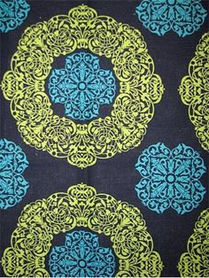 """Soul Blue Turquoise - Duralee Fabric. Multi purpose suzani print decorator fabric for drapery panels or light to medium use upholstery. 100% cotton slub duck. V 13.5"""", H 13.5"""". Clean code; S. 54"""" wide. Duraguard finish. Made in U.S.A."""
